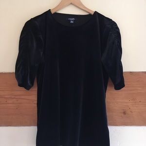 New Chaps Rouched Sleeve Velvet T-Shirt